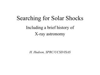 Searching for Solar Shocks