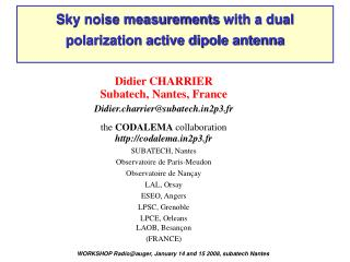 Sky noise measurement s  with a dual polarization active dipole antenna