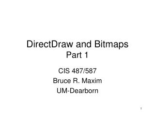 DirectDraw and Bitmaps Part 1