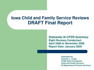 Iowa Child and Family Service Reviews  DRAFT Final Report