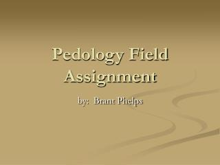 Pedology Field Assignment
