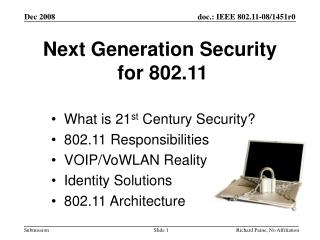 Next Generation Security  for 802.11