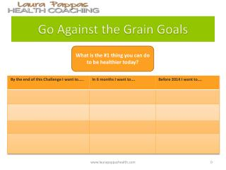 Go Against the Grain  Goals