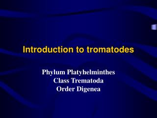 Introduction to tromatodes