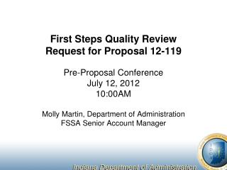 First Steps Quality Review Request for Proposal 12-119