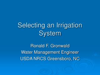 Selecting an Irrigation System