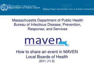 How to share an event in MAVEN Local Boards of Health 2011 (11.0)