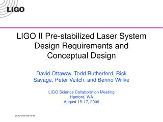 LIGO II Pre-stabilized Laser System Design Requirements and Conceptual Design