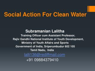 Social Action For Clean Water