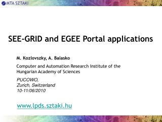 SEE-GRID and EGEE Portal applications