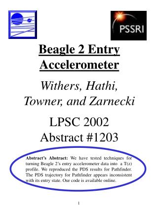Beagle 2 Entry Accelerometer Withers, Hathi,  Towner, and Zarnecki LPSC 2002 Abstract #1203