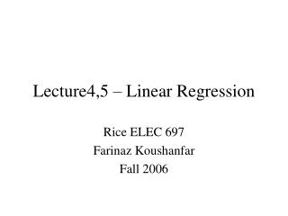 Lecture4,5 – Linear Regression