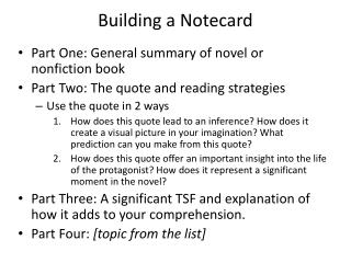 Building a  Notecard