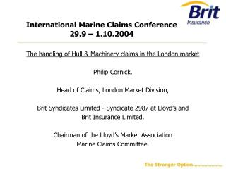 International Marine Claims Conference  29.9 – 1.10.2004