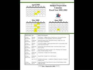 Budget Preparation Calendar for Fiscal Year 2002-2003