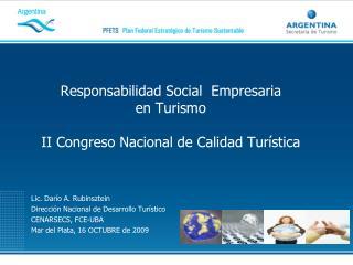 Responsabilidad Social  Empresaria  en Turismo II Congreso Nacional de Calidad Turística