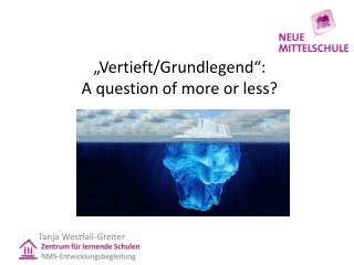 """Vertieft/Grundlegend"":  A  question of more or less ?"