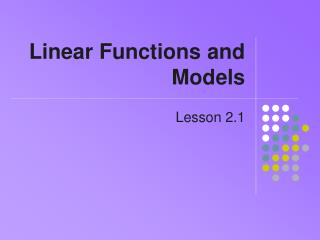 Linear Functions and Models