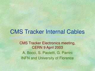 CMS Tracker Internal Cables
