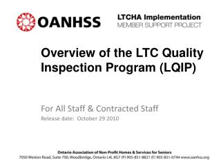 Overview of the LTC Quality Inspection Program (LQIP)