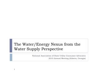 The Water/Energy Nexus from the Water Supply Perspective