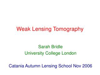 Weak Lensing Tomography