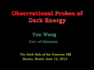 Observational Probes of Dark Energy