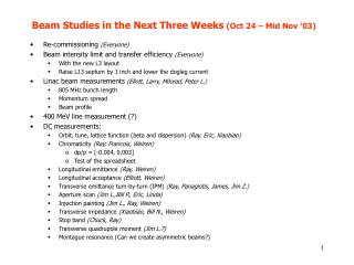 Beam Studies in the Next Three Weeks  (Oct 24 – Mid Nov '03)