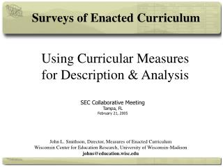 Using Curricular Measures for Description & Analysis