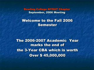 Dowling College NYSUT Chapter September, 2006 Meeting
