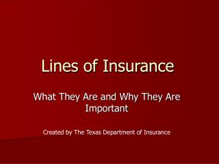 Lines of Insurance