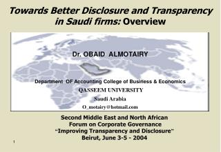 Towards Better Disclosure and Transparency in Saudi firms: Overview
