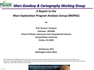 Mars Geodesy & Cartography Working Group