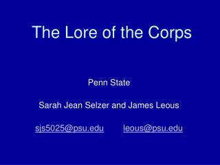 The Lore of the Corps