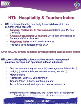 HTI:  Hospitality & Tourism Index
