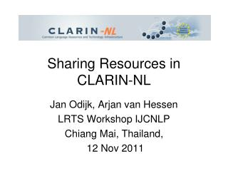 Sharing Resources in CLARIN-NL