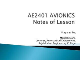 AE2401 AVIONICS Notes of Lesson