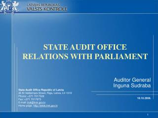 STATE AUDIT OFFICE RELATIONS WITH PARLIAMENT