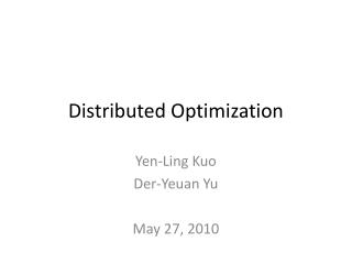 Distributed Optimization