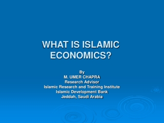 WHAT IS ISLAMIC ECONOMICS