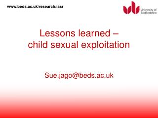 Lessons learned –  child sexual exploitation
