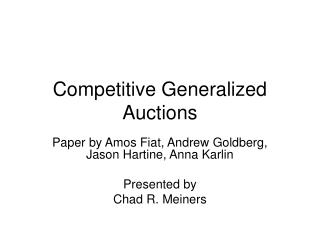 Competitive Generalized Auctions