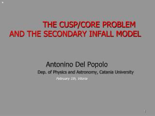 THE CUSP/CORE PROBLEM AND THE SECONDARY INFALL MODEL