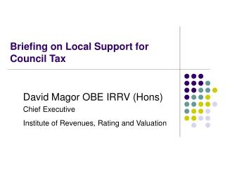 Briefing on Local Support for Council Tax
