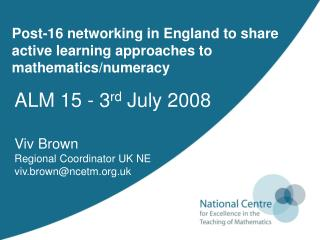 Post-16 networking in England to share active learning approaches to mathematics/numeracy