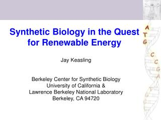 Synthetic Biology in the Quest for Renewable Energy