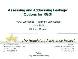 Assessing and Addressing Leakage: Options for RGGI