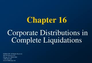 Chapter 16 Corporate Distributions in Complete Liquidations