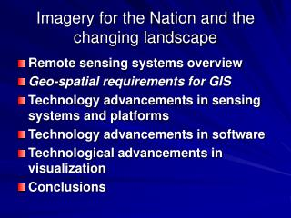 Imagery for the Nation and the changing landscape