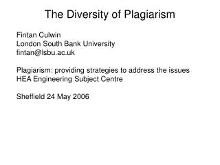 The Diversity of Plagiarism